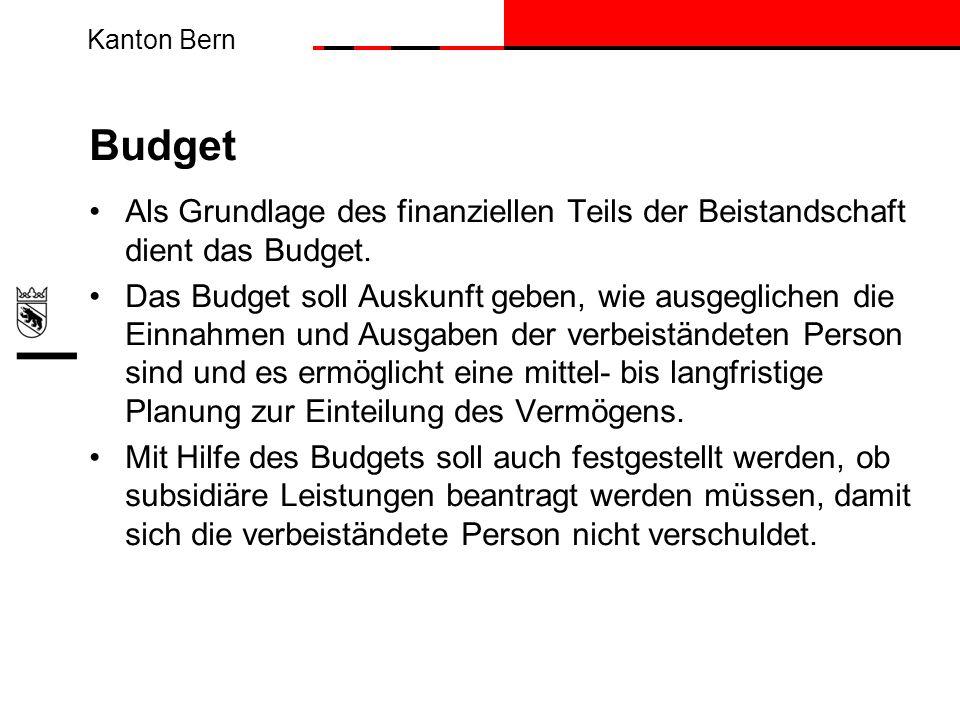 Budget Als Grundlage des finanziellen Teils der Beistandschaft dient das Budget.