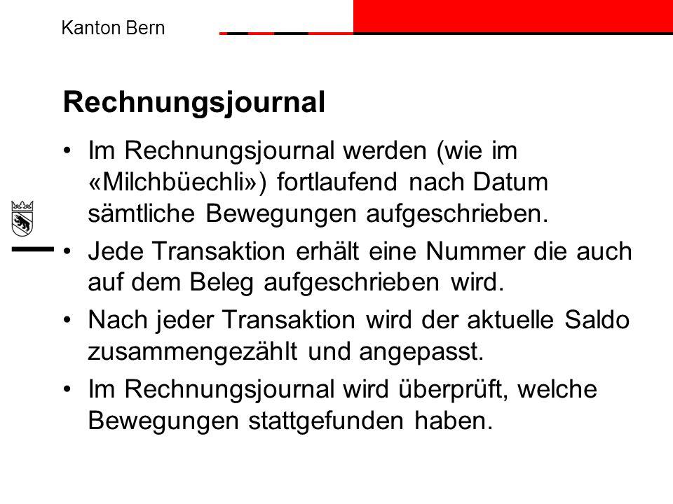 Rechnungsjournal Im Rechnungsjournal werden (wie im «Milchbüechli») fortlaufend nach Datum sämtliche Bewegungen aufgeschrieben.