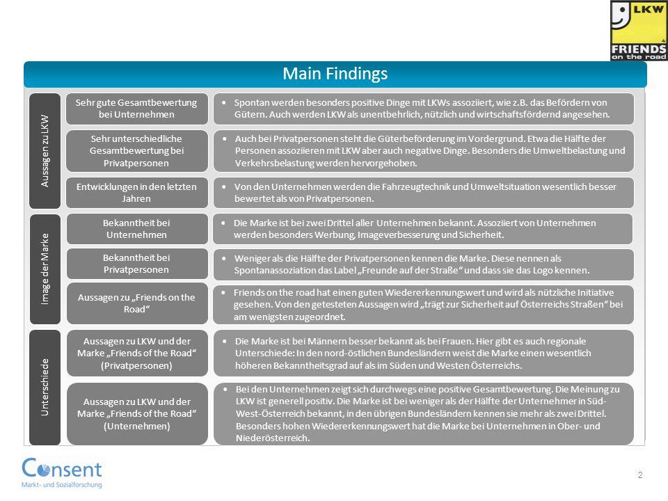 Main Findings Sehr gute Gesamtbewertung bei Unternehmen