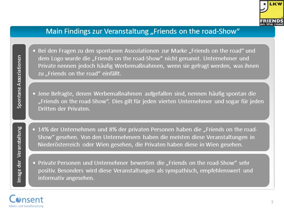"Main Findings zur Veranstaltung ""Friends on the road-Show"