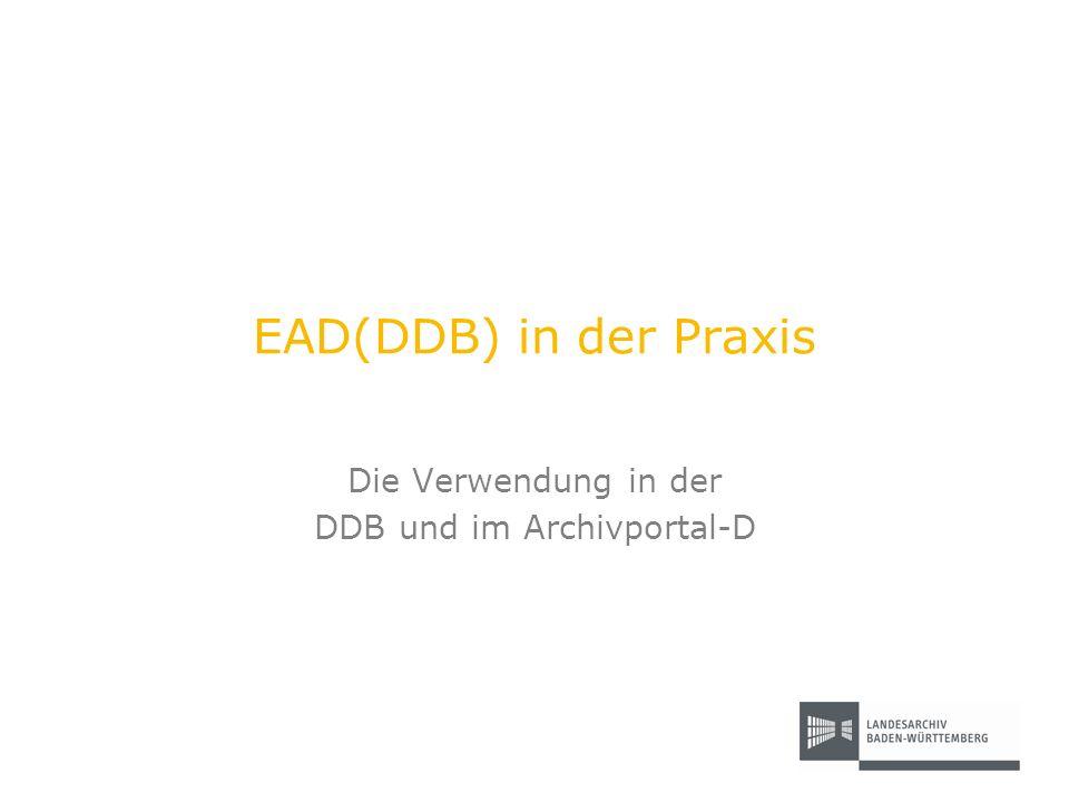 Die Verwendung in der DDB und im Archivportal-D
