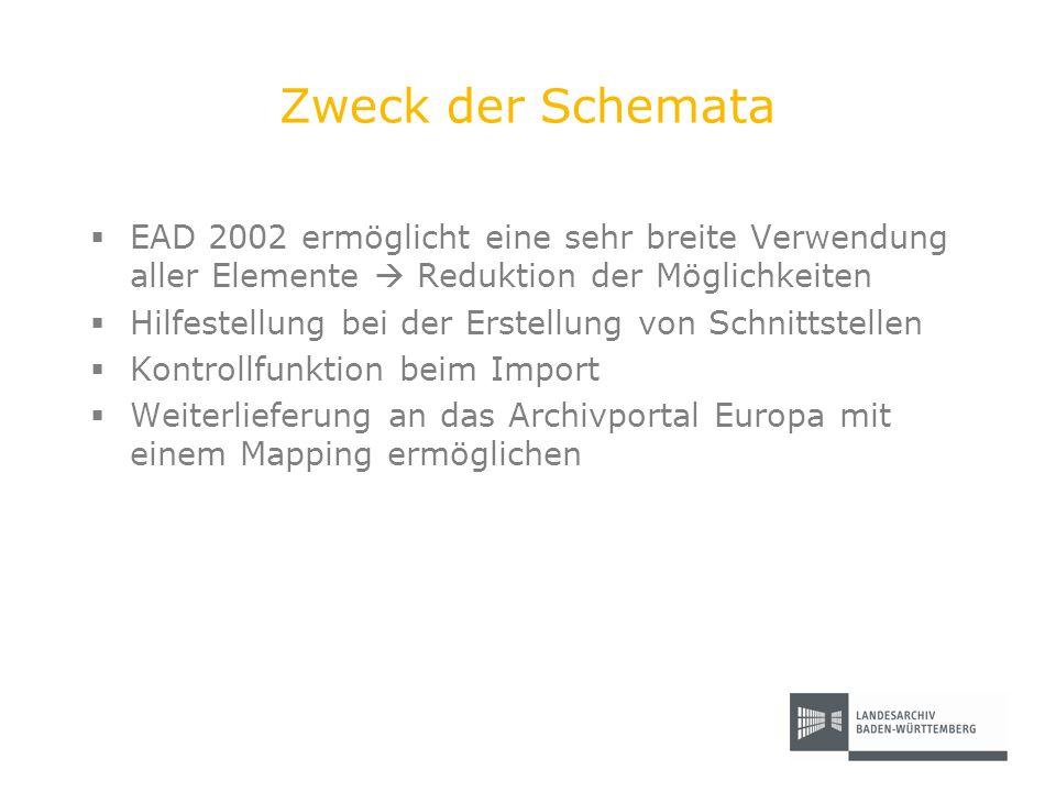 Zweck der Schemata EAD 2002 ermöglicht eine sehr breite Verwendung aller Elemente  Reduktion der Möglichkeiten.