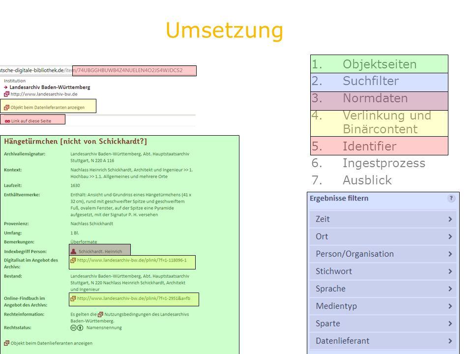 Umsetzung Objektseiten Suchfilter Normdaten