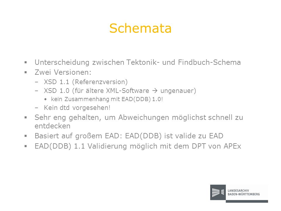 Schemata Unterscheidung zwischen Tektonik- und Findbuch-Schema