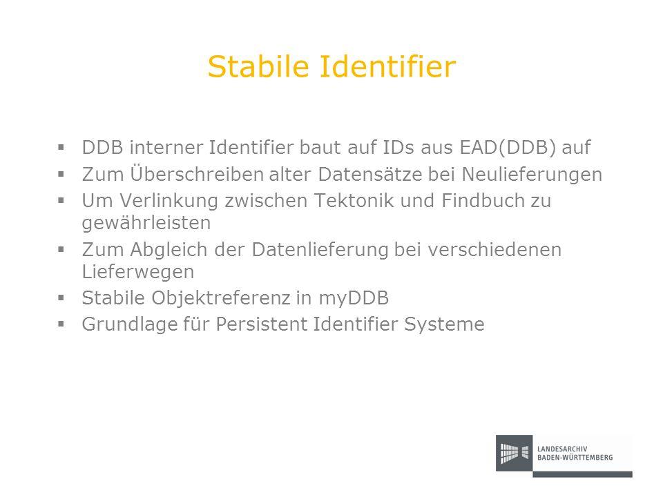 Stabile Identifier DDB interner Identifier baut auf IDs aus EAD(DDB) auf. Zum Überschreiben alter Datensätze bei Neulieferungen.