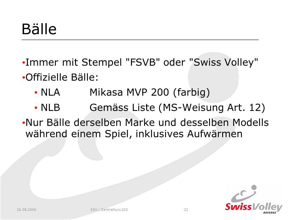 Bälle Immer mit Stempel FSVB oder Swiss Volley Offizielle Bälle: