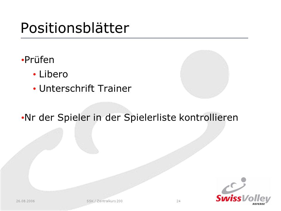 Positionsblätter Prüfen Libero Unterschrift Trainer