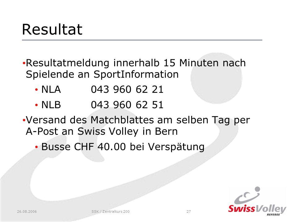 Resultat Resultatmeldung innerhalb 15 Minuten nach Spielende an SportInformation. NLA 043 960 62 21.