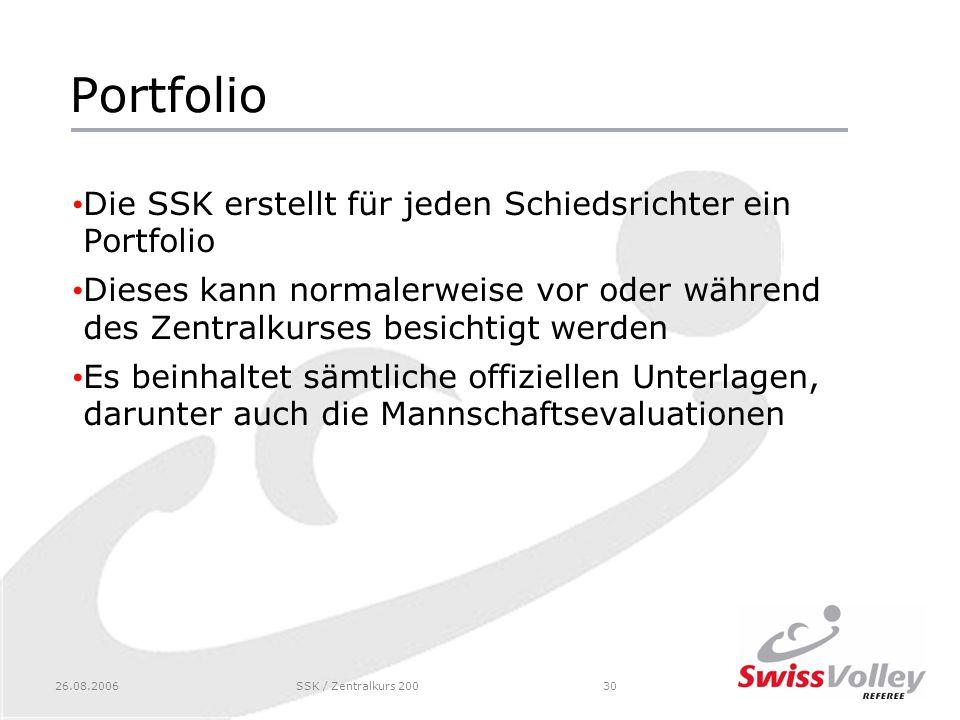 Portfolio Die SSK erstellt für jeden Schiedsrichter ein Portfolio