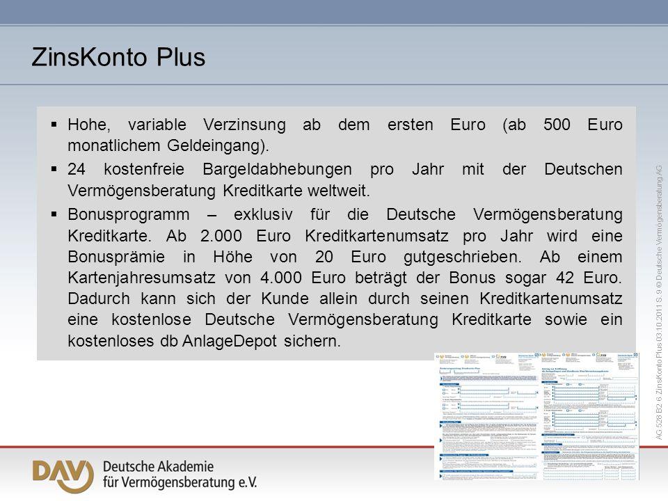 ZinsKonto Plus Hohe, variable Verzinsung ab dem ersten Euro (ab 500 Euro monatlichem Geldeingang).