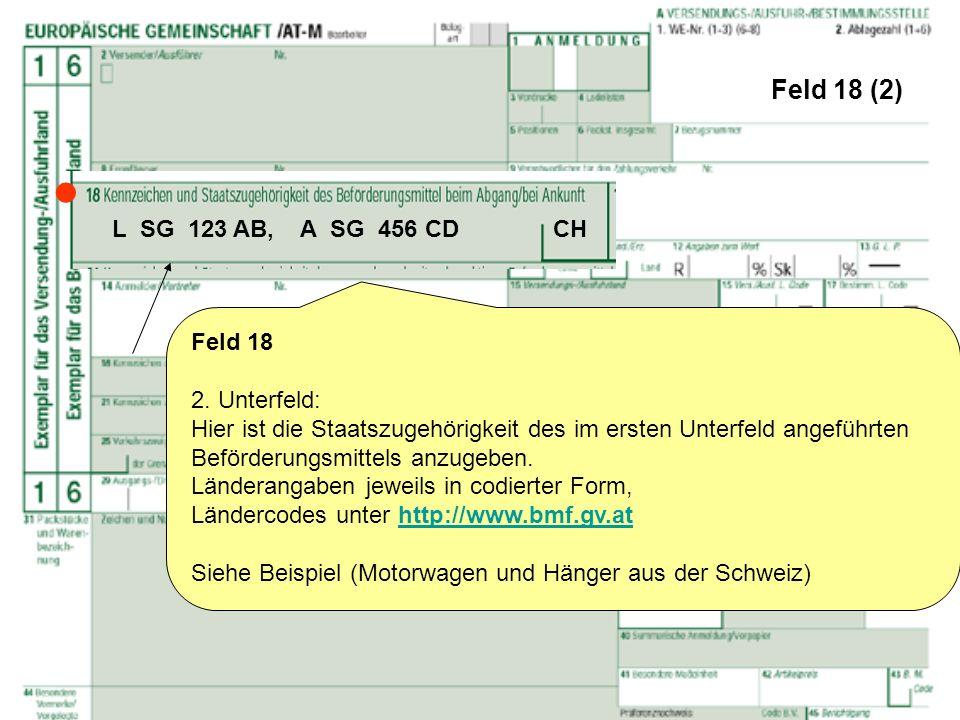  Feld 18 (2) L SG 123 AB, A SG 456 CD CH Feld 18 2. Unterfeld: