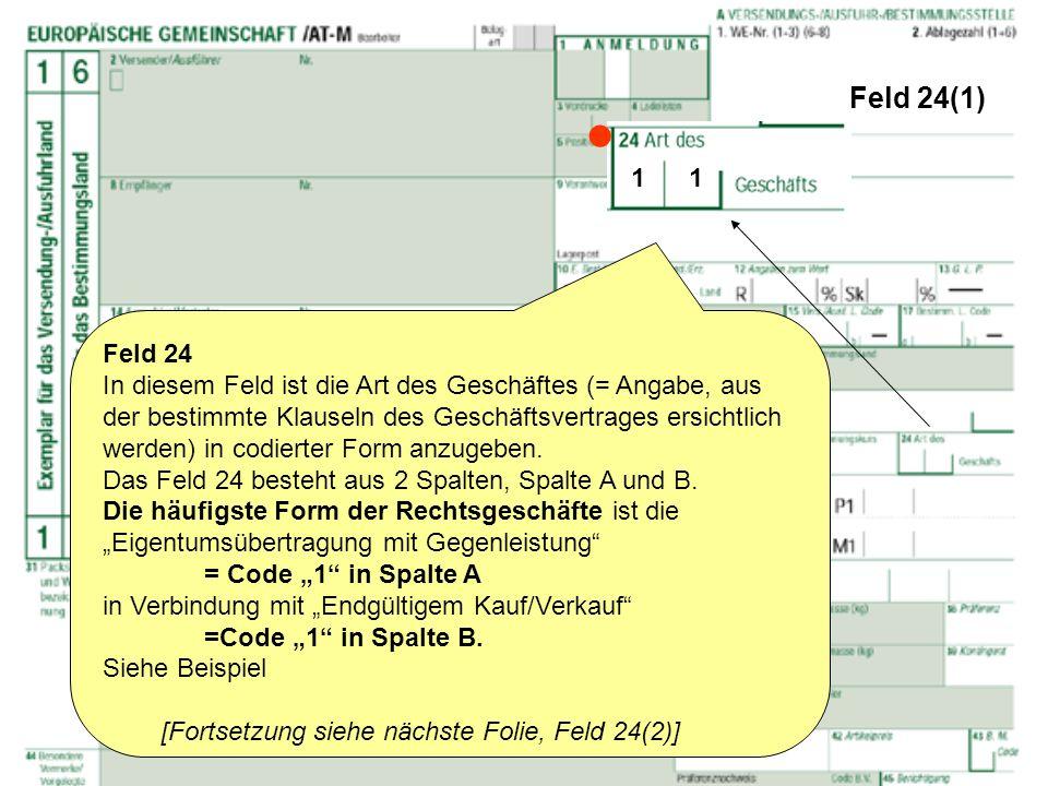 Feld 24(1)  1 1. Feld 24.