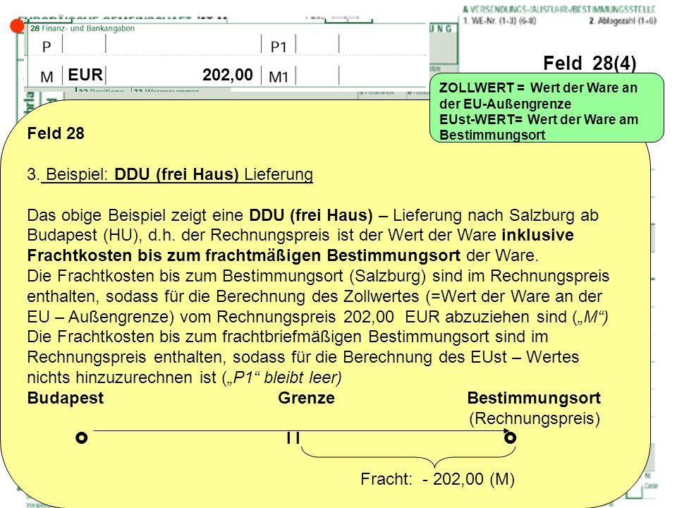  Feld 28(4) EUR 202,00 Feld 28 3. Beispiel: DDU (frei Haus) Lieferung