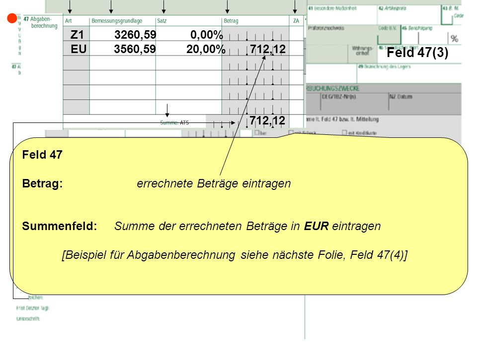  Feld 47(3) Z1 3260,59 0,00% EU 3560,59 20,00% 712,12. 712,12.