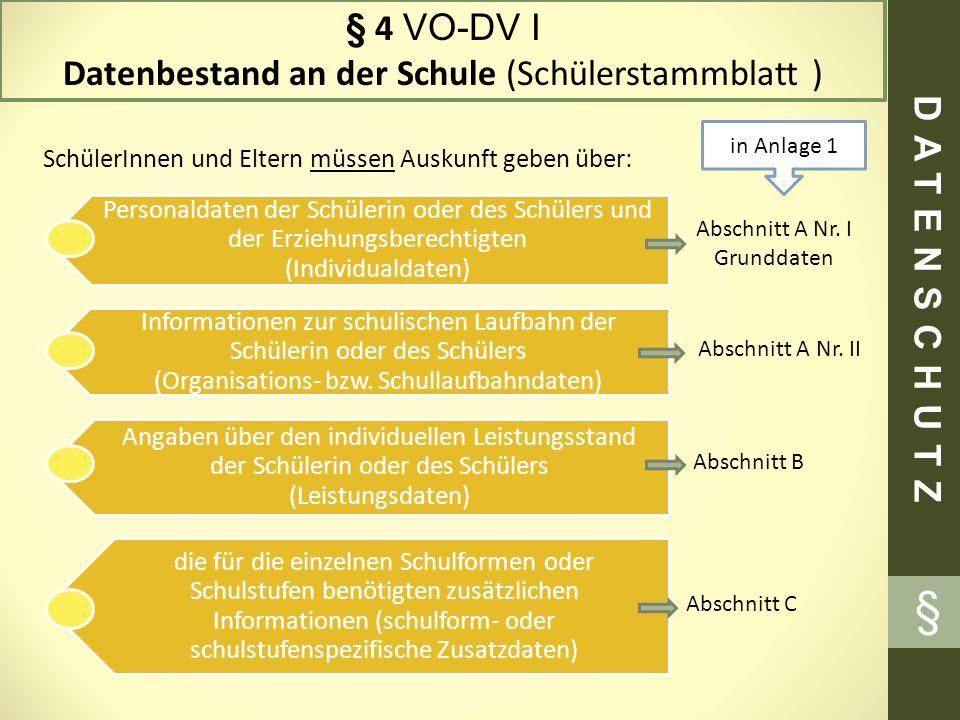 § § 4 VO-DV I Datenbestand an der Schule (Schülerstammblatt )