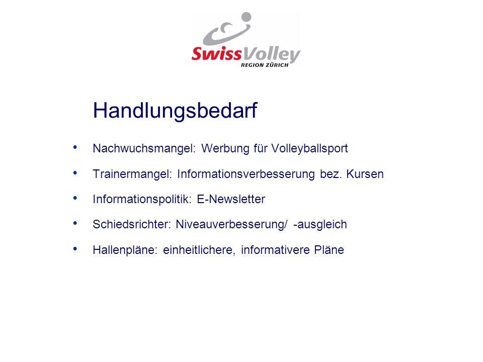 Handlungsbedarf Nachwuchsmangel: Werbung für Volleyballsport. Trainermangel: Informationsverbesserung bez. Kursen.