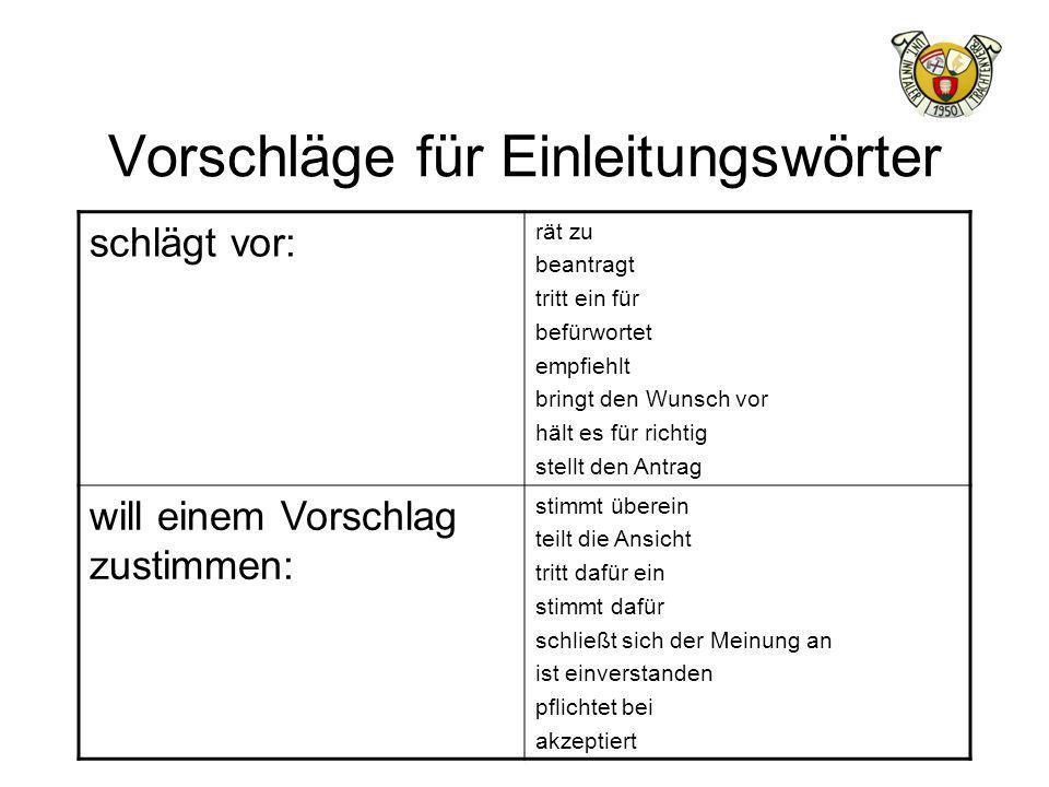 Vorschläge für Einleitungswörter