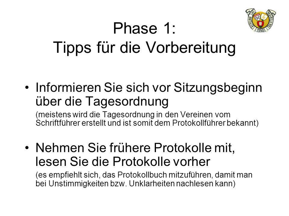 Phase 1: Tipps für die Vorbereitung