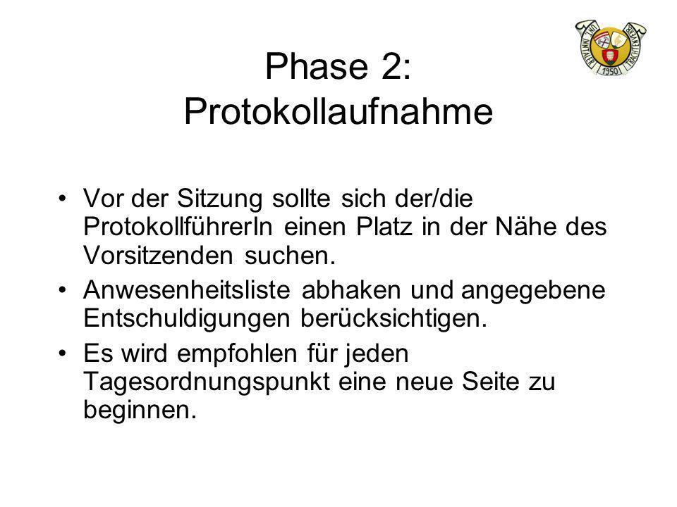 Phase 2: Protokollaufnahme