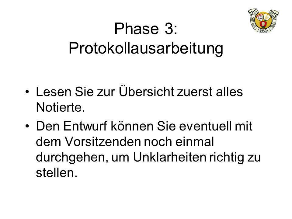 Phase 3: Protokollausarbeitung