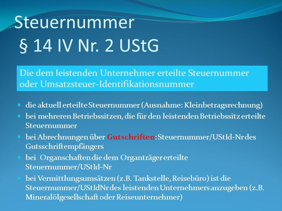 Steuernummer § 14 IV Nr. 2 UStG