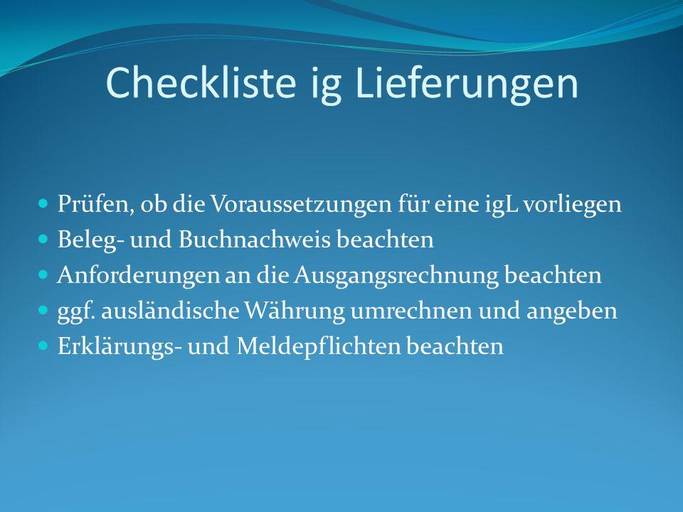Checkliste ig Lieferungen