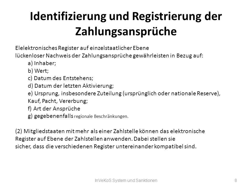Identifizierung und Registrierung der Zahlungsansprüche