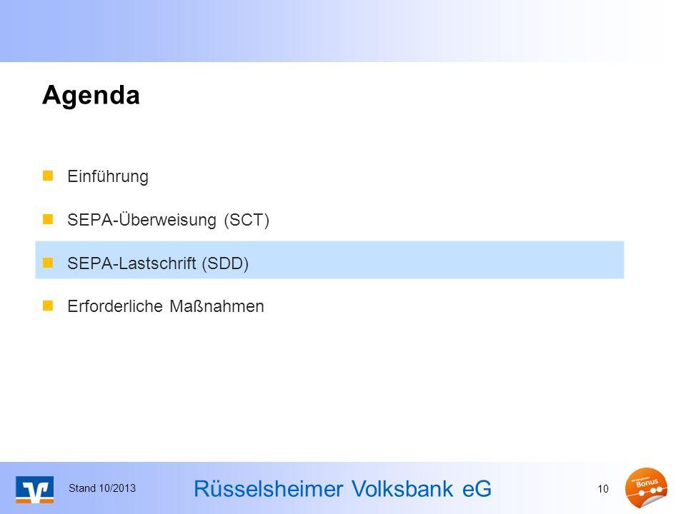 Agenda Einführung SEPA-Überweisung (SCT) SEPA-Lastschrift (SDD)