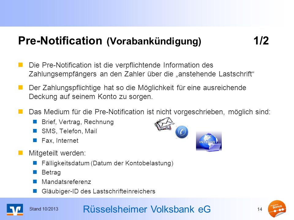 Pre-Notification (Vorabankündigung) 1/2