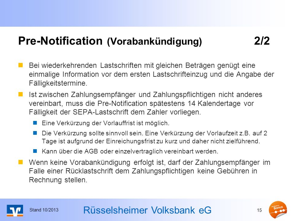 Pre-Notification (Vorabankündigung) 2/2