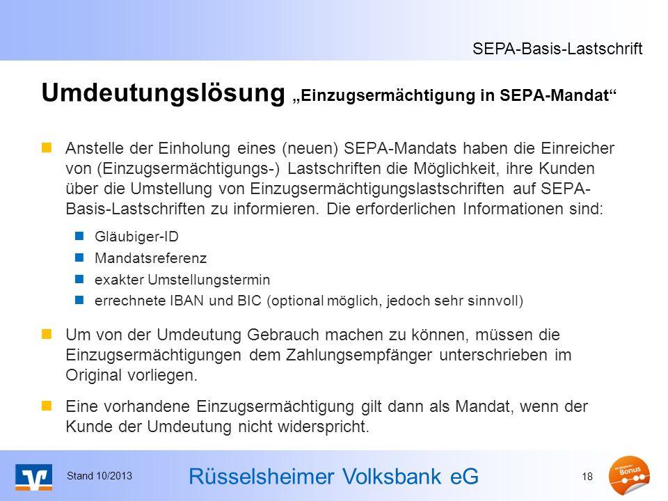 """Umdeutungslösung """"Einzugsermächtigung in SEPA-Mandat"""