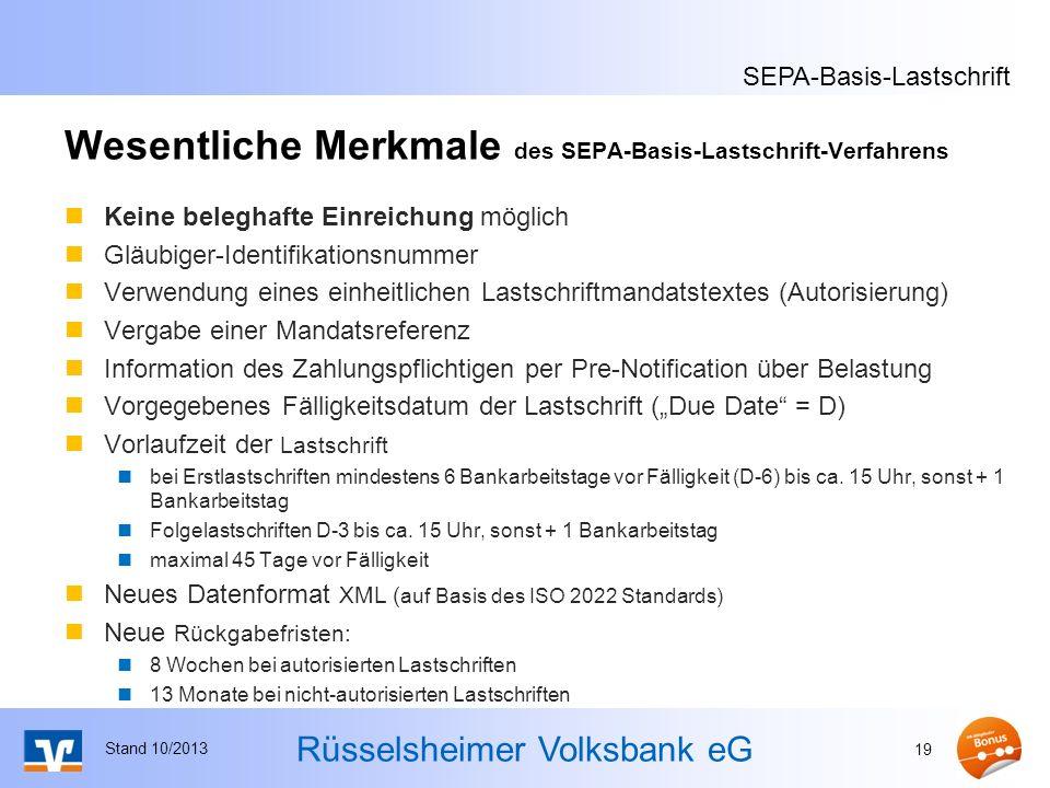 Wesentliche Merkmale des SEPA-Basis-Lastschrift-Verfahrens