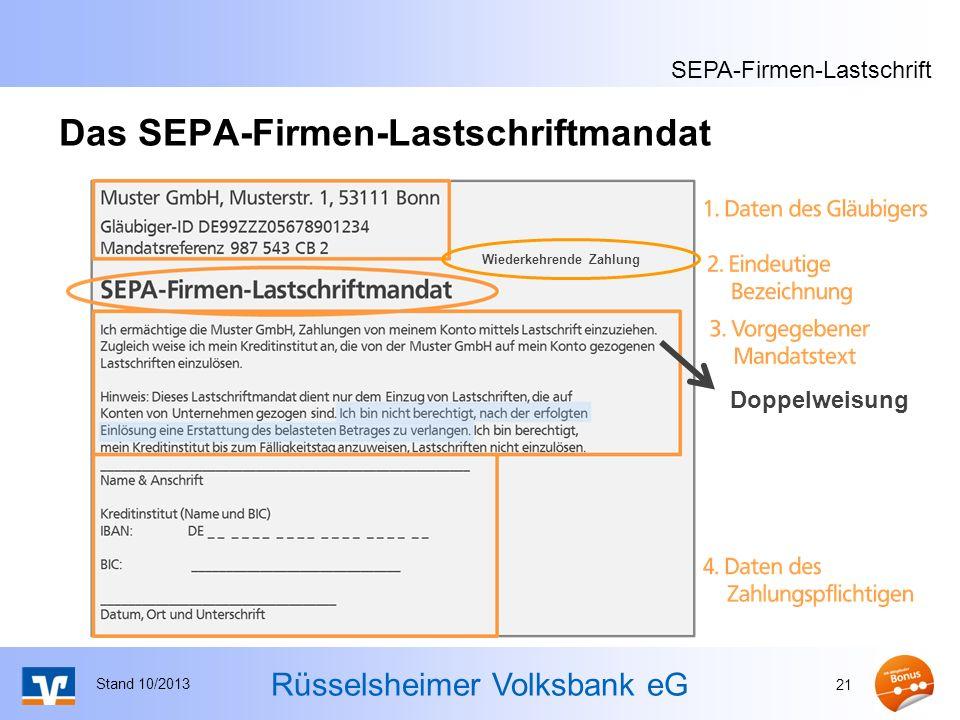 Das SEPA-Firmen-Lastschriftmandat