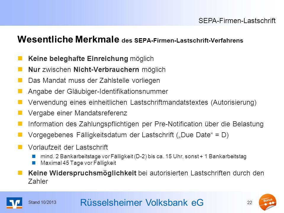 Wesentliche Merkmale des SEPA-Firmen-Lastschrift-Verfahrens