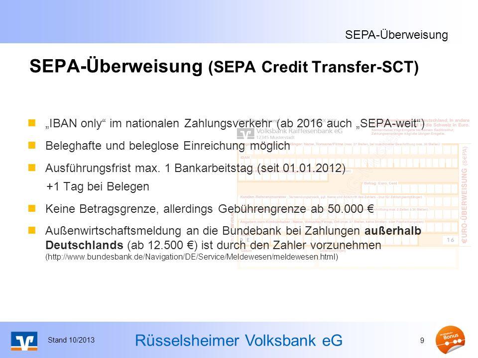 SEPA-Überweisung (SEPA Credit Transfer-SCT)