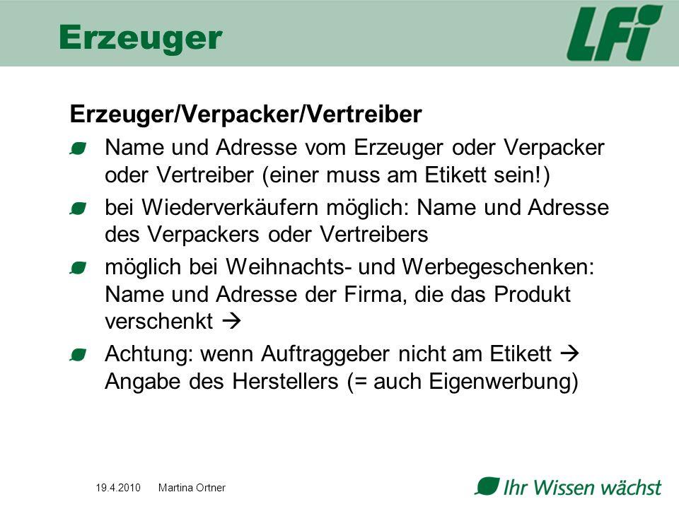 Erzeuger Erzeuger/Verpacker/Vertreiber
