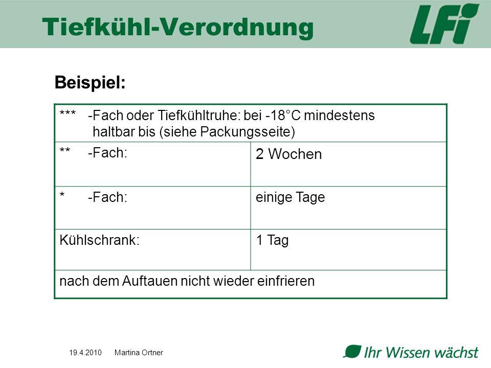 Tiefkühl-Verordnung Beispiel: 2 Wochen