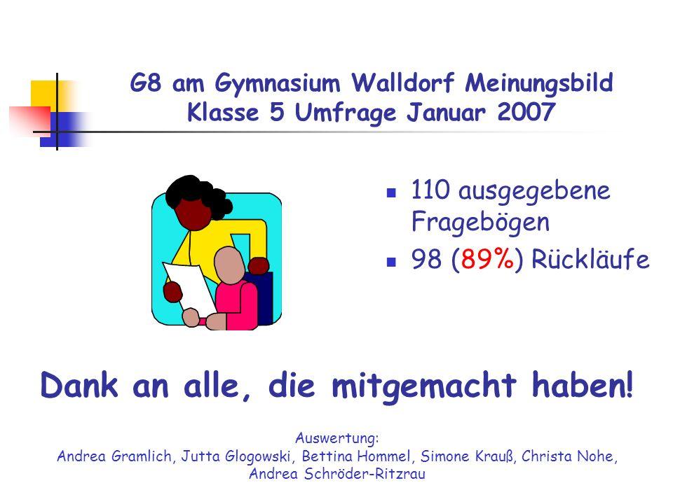 G8 am Gymnasium Walldorf Meinungsbild Klasse 5 Umfrage Januar 2007