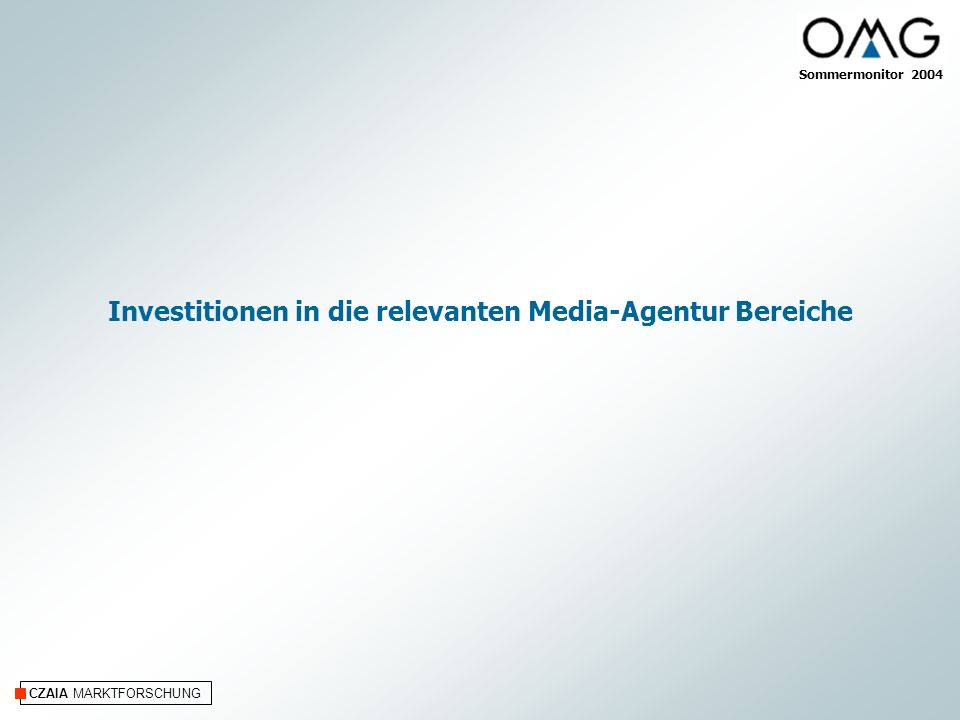 Investitionen in die relevanten Media-Agentur Bereiche