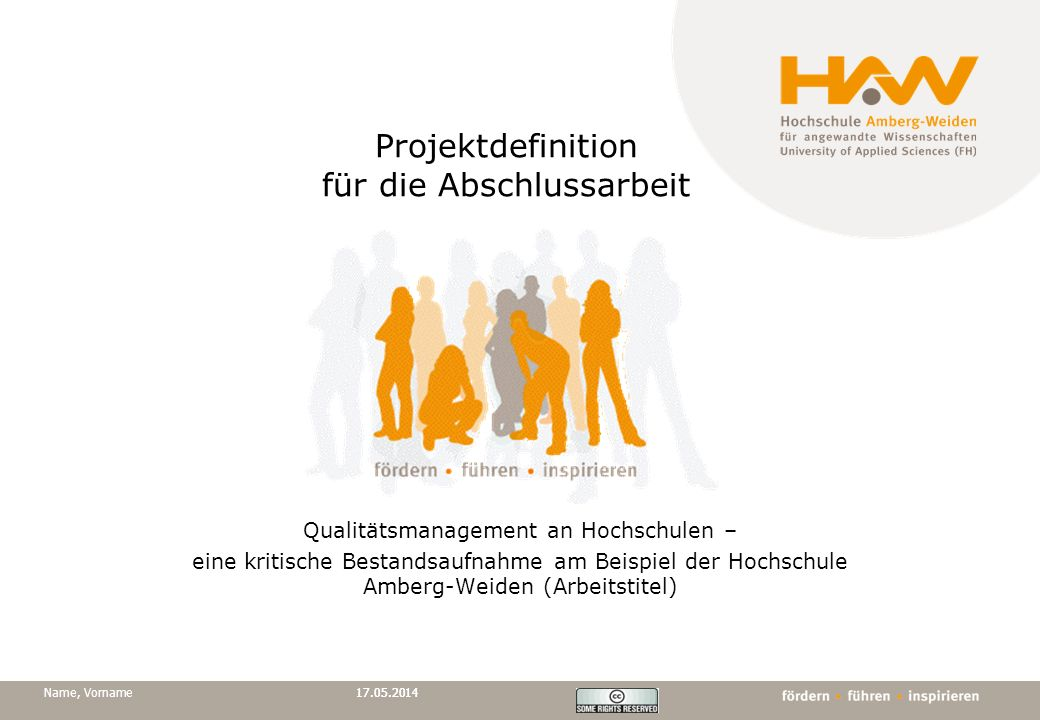 Projektdefinition für die Abschlussarbeit