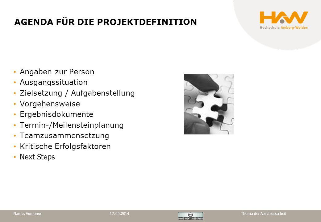 AGENDA FÜR DIE PROJEKTDEFINITION