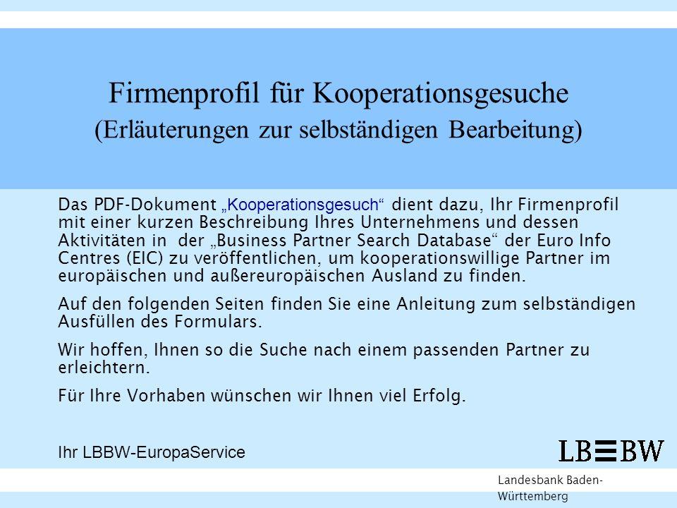 Firmenprofil für Kooperationsgesuche