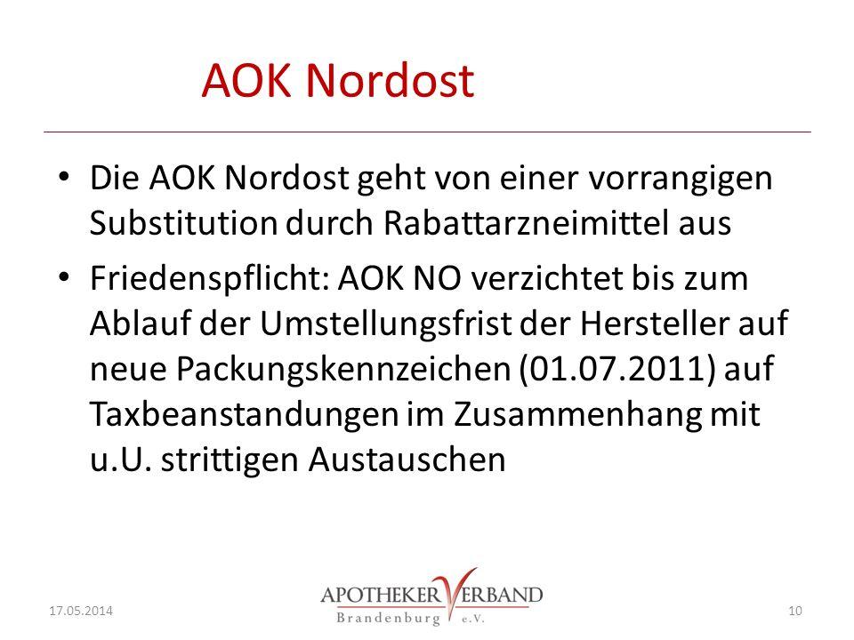 AOK Nordost Die AOK Nordost geht von einer vorrangigen Substitution durch Rabattarzneimittel aus.