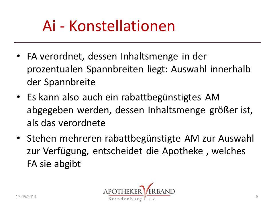 Ai - Konstellationen FA verordnet, dessen Inhaltsmenge in der prozentualen Spannbreiten liegt: Auswahl innerhalb der Spannbreite.