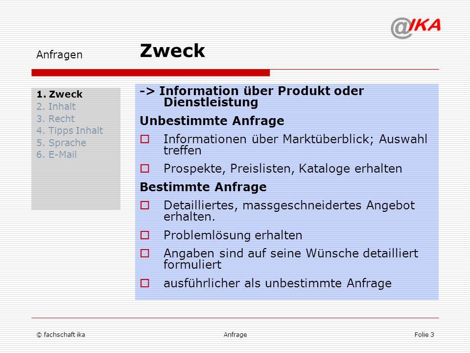 Zweck -> Information über Produkt oder Dienstleistung