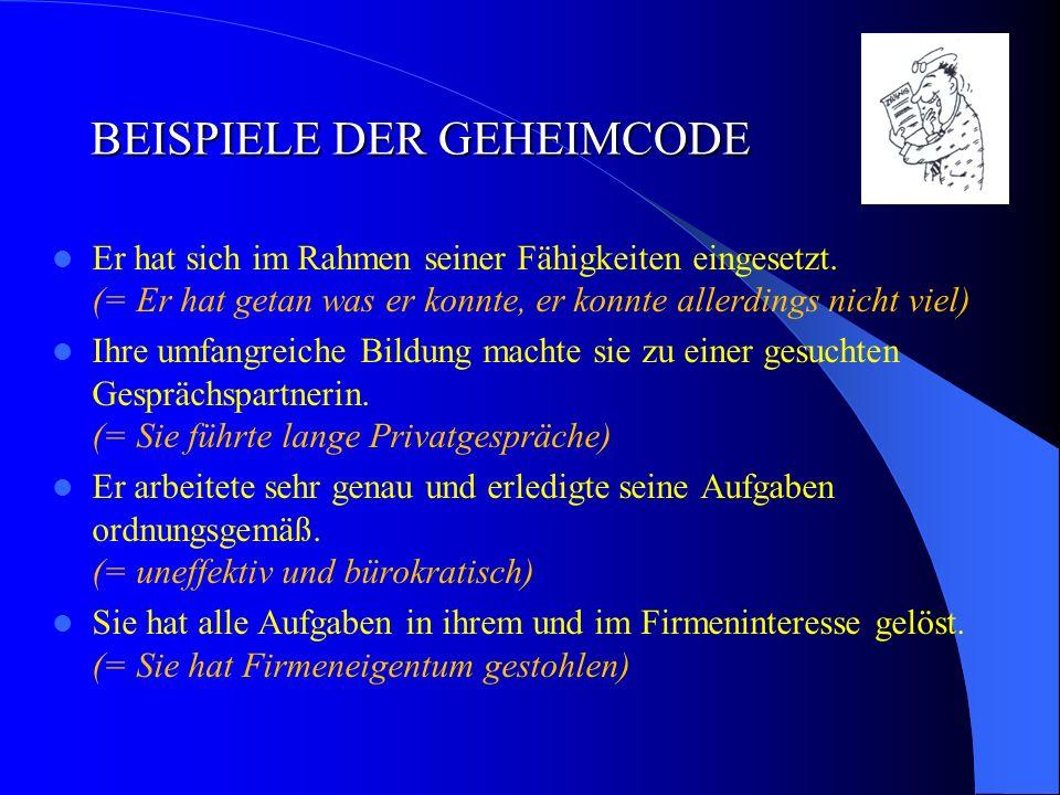 BEISPIELE DER GEHEIMCODE