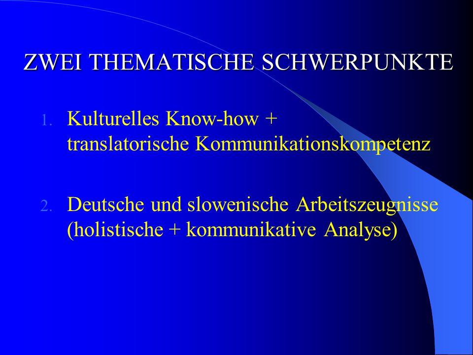 ZWEI THEMATISCHE SCHWERPUNKTE