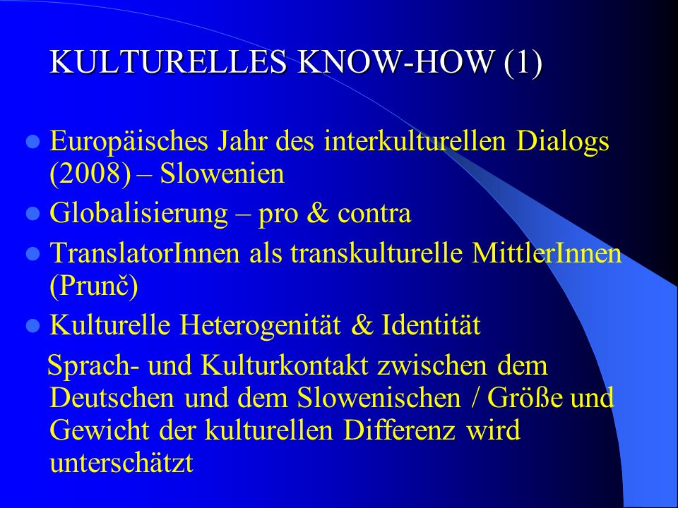 KULTURELLES KNOW-HOW (1)