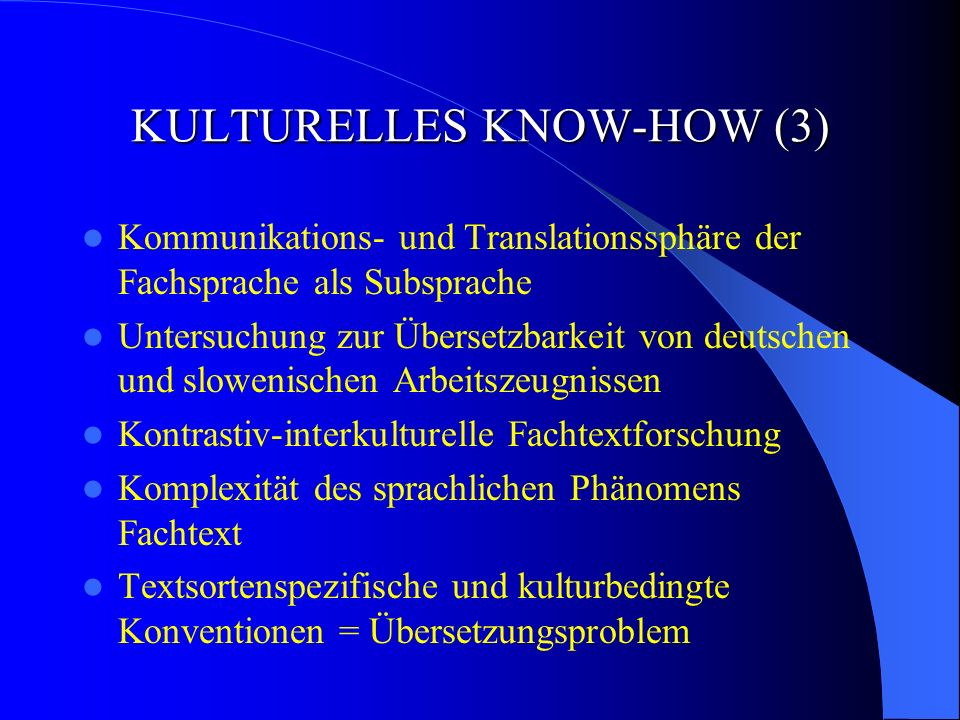 KULTURELLES KNOW-HOW (3)