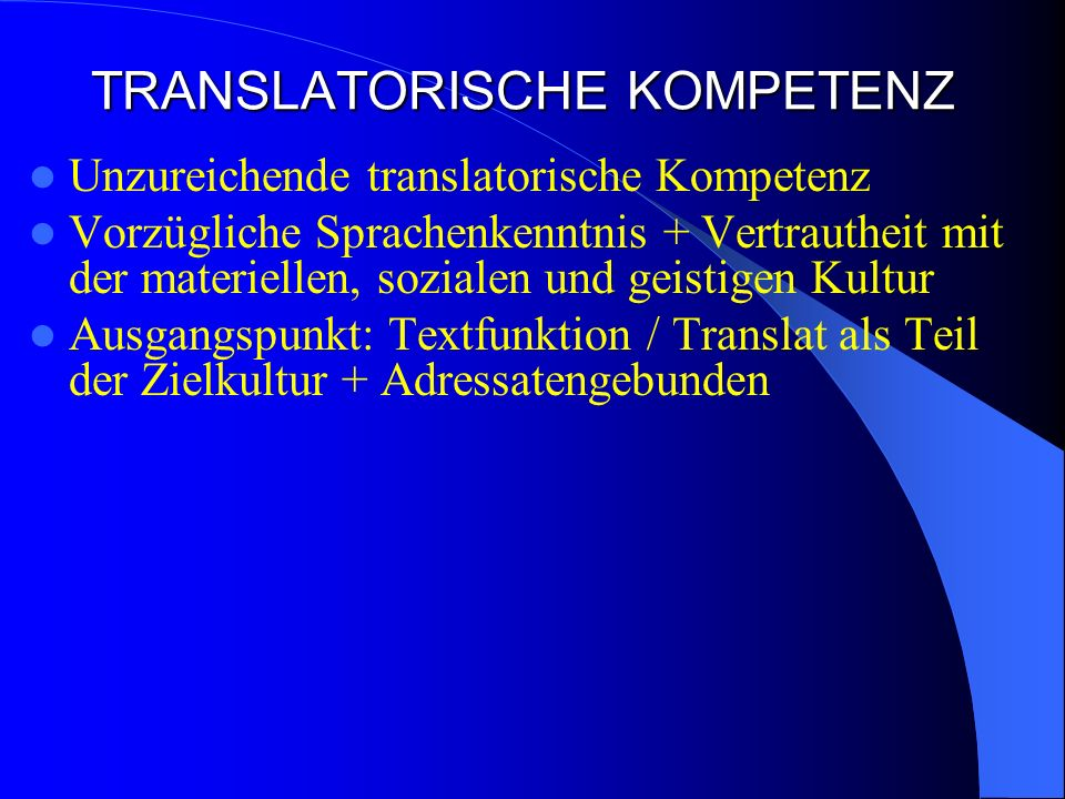 TRANSLATORISCHE KOMPETENZ